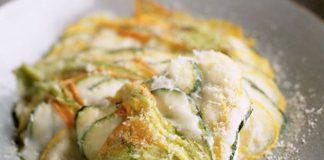lasagne di zucchine e fiori di zucca