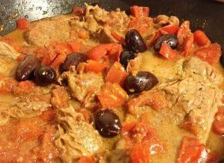 carne ala pizzaiola con olive