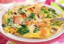 frittata con avanzi funghi e spinaci