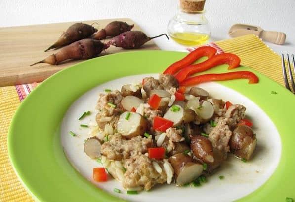Topinambur ricetta con carne e riso