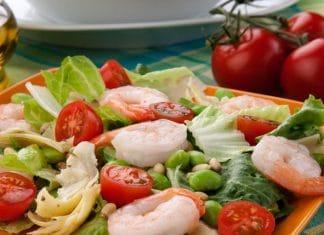 fave gamberi carciofi insalata
