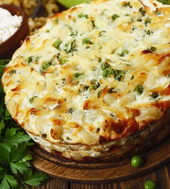 Pasta piselli al forno con ricotta e senza besciamella