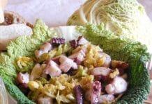 verza in padella e polpo in insalata