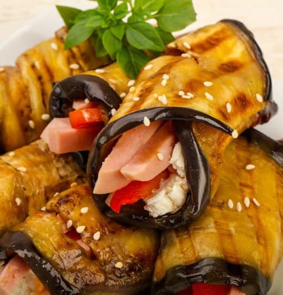 melanzane ripiene grigliate feta peperone