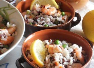 Insalata di riso venere riso bianco e mazzancolle