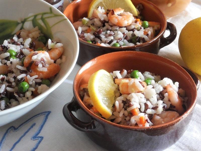 Insalata di riso venere rriso bianco e mazzancolle