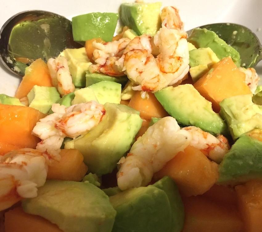 gamberoni avocado e melone insalata estiva