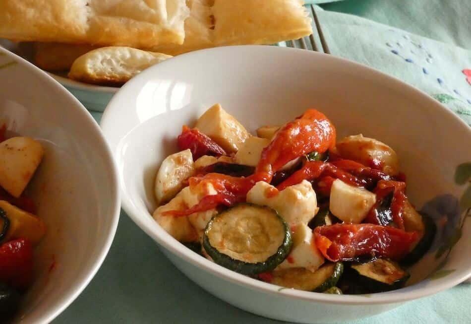 insalata estiva verdure grigliate surgelate mozzarella